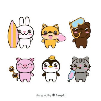 Flat kawaii animals collection