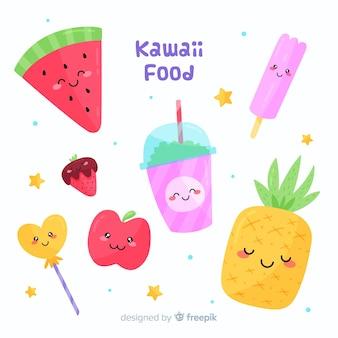 Flat kawaii food collection
