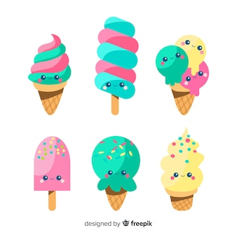Flat kawaii ice cream collection