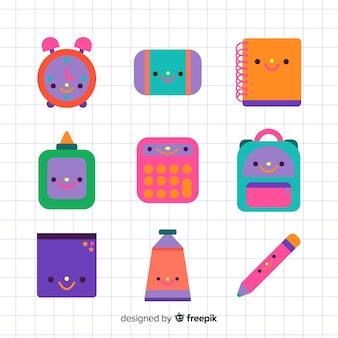Flat kawaii school supplies collection