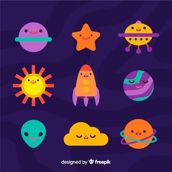 Flat kawaii sky characters collection