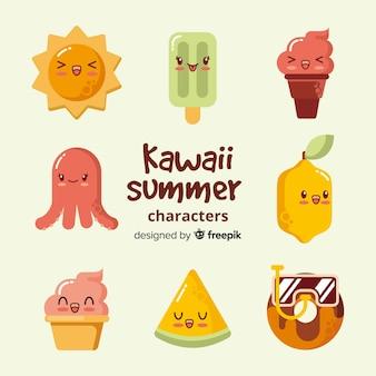 Flat kawaii summer elements collection