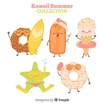 Flat kawaii summer food collection