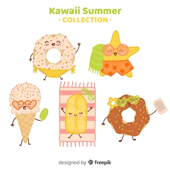 Flat kawaii summer food collection