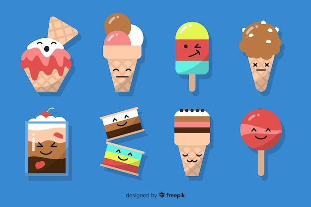Коллекция мороженого flat kawaii