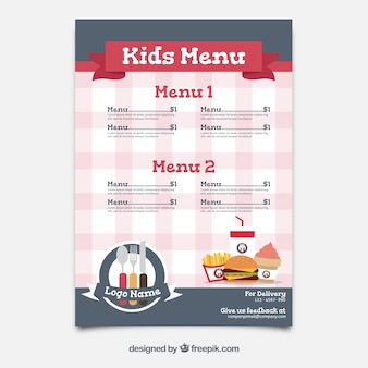 Flat kid's menu with checkered background