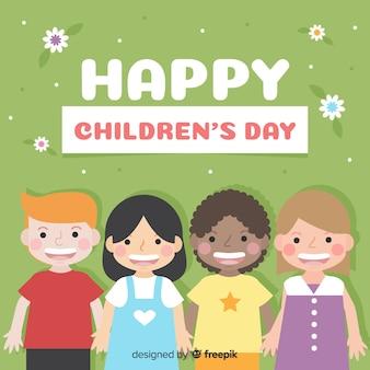 Flat kids childrens day background