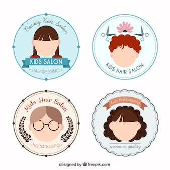 Плоские дети парикмахерские круглые логотипы