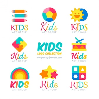 Flat kids logos with colorful items