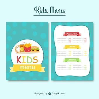 Menu per bambini flat 'con il cibo e circoli