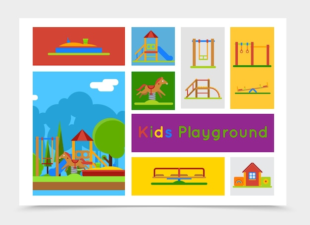 Flat kids playground composition
