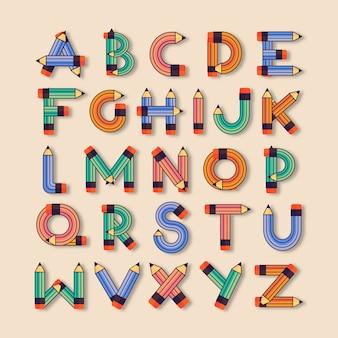 Flat kids school font. english font.
