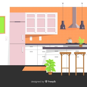 Flat kitchen background