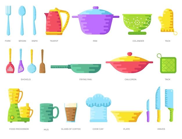 ウェブとモバイルの家のイラストデザインで調理するためのフラットキッチンテーブル