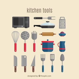 Flat kitchen utensils icon collection