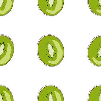 フラットキウイシームレスな背景ベクトルイラスト。エキゾチックなフルーツ。健康的なライフスタイルデザインのパターン。スカンジナビアスタイル。ベジタリアンの夏の背景。キッチンアート。新鮮なポスター。