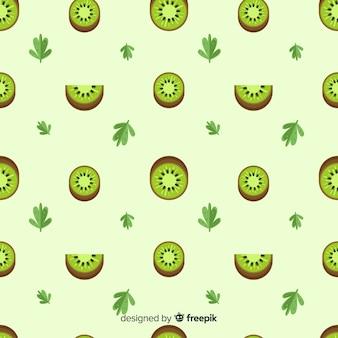 フラットキウイと葉のパターン 無料ベクター