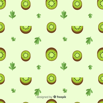 Flat kiwis and leaves pattern