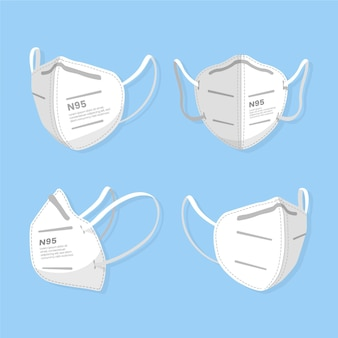 Flat kn95 face mask in different perspectives