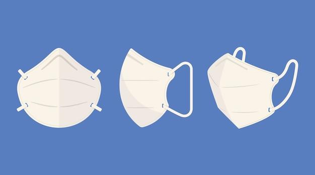 Плоская маска для лица kn95 в разных ракурсах