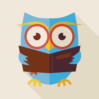 Плоская иллюстрация книги чтения совы знаний и образования с длинной тенью. снова в школу и образование векторные иллюстрации. плоский стиль умная красочная сова птица читает книгу