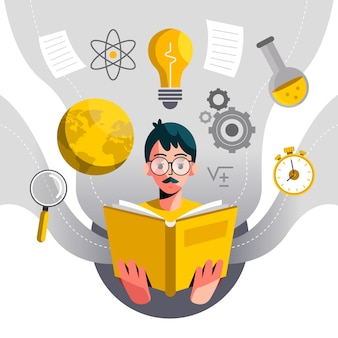Flat knowledge concept illustration with man and book