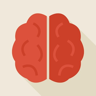 긴 그림자와 평면 지식 인간의 두뇌 그림입니다. 학교 및 교육 벡터 일러스트 레이 션 돌아가기. 긴 그림자와 평면 스타일 다채로운 브레인 스토밍. 영리하고 성공 아이디어
