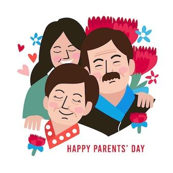 평면 한국 부모의 날 그림