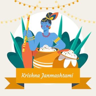 Flat krishna janmashtami illustration