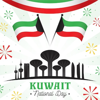 Flat kuwait national day illustration with famous buildings