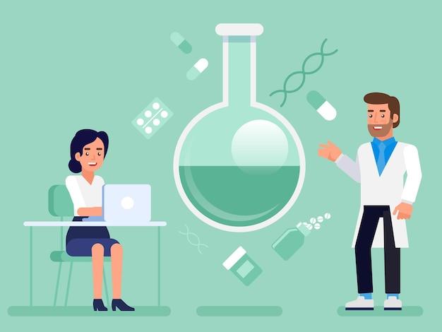Плоская лаборатория исследования науки лабораторный ученый доктор медсестра концепция веб-инфографика иллюстрации. концептуальная профессиональная медицина здравоохранения.