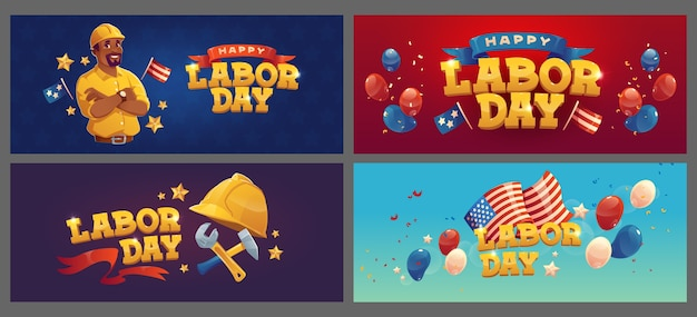 Flat labor day backgrounds collection