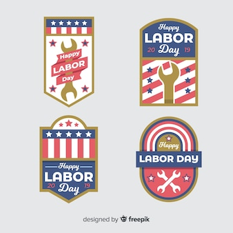 Flat labor day badge collection