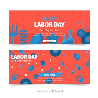 Flat labor day banner template