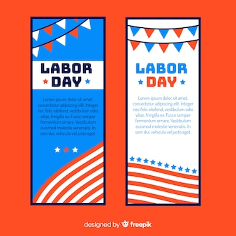 Flat labor day banner templates
