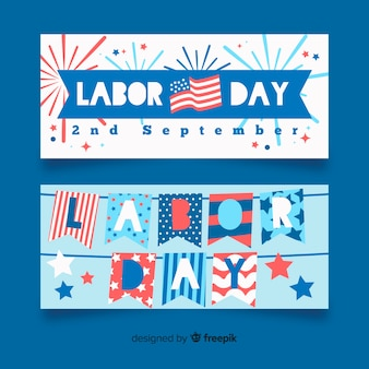 Flat labor day banners template