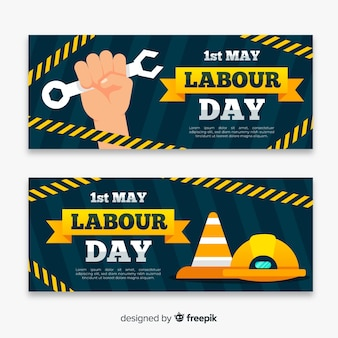 Flat labor day banners