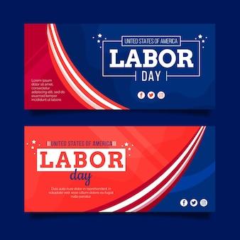 Flat labor day horizontal banners set