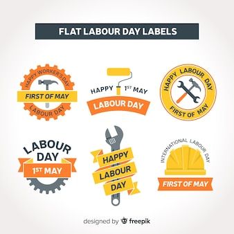 Flat labor day label collection