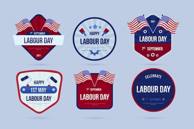 Collezione di etichette piatte per la festa del lavoro