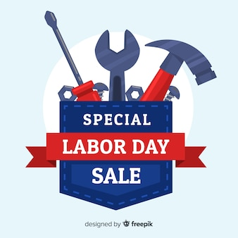 Flat labor day sale background