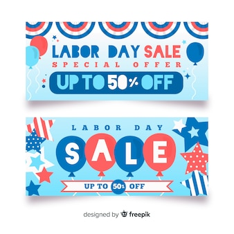 Flat labor day sale banners