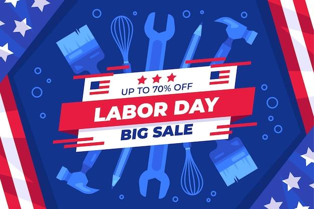Плоская иллюстрация продажи дня труда