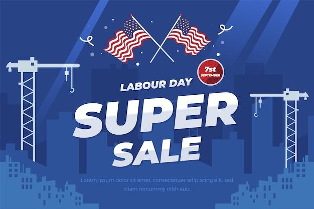 Flat labor day sale illustration