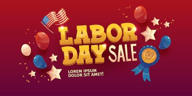 Illustrazione di vendita di festa del lavoro piatta