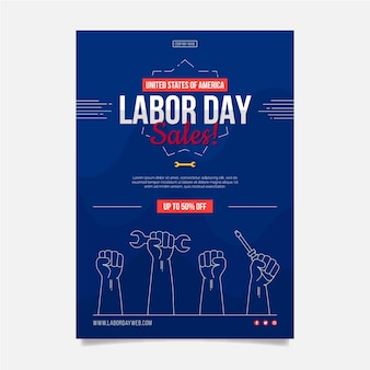Flat labor day sale vertical poster template