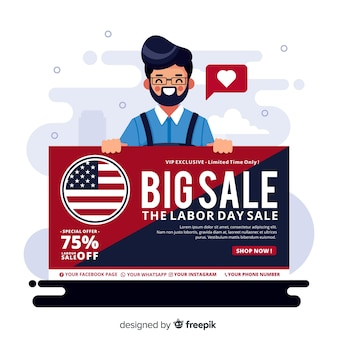 Flat labor day sales background