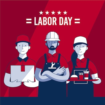 Flat labor day usa concept