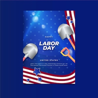 Flat labor day vertical poster template with photo