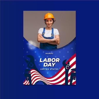 사진이 있는 평면 노동절 수직 포스터 템플릿